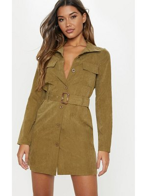 PrettyLittleThing faux suede button front belted cargo dress