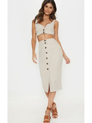 PrettyLittleThing faux suede button front midi skirt