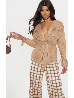 PrettyLittleThing faux suede cargo ruched waist shirt