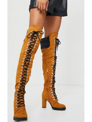 PrettyLittleThing faux suede contrast pu back eyelet lace up heeled over knee boots