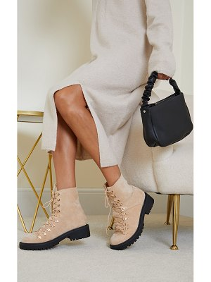 PrettyLittleThing faux suede lace up hiker boots