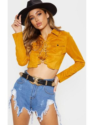 PrettyLittleThing faux suede lace up pocket detail crop top