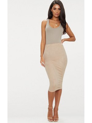 PrettyLittleThing faux suede midi skirt