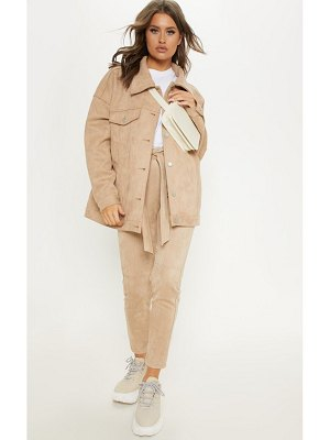 PrettyLittleThing faux suede oversized trucker jacket