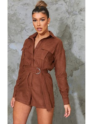 PrettyLittleThing faux suede pocket detail utility romper