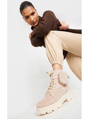 PrettyLittleThing faux suede pocket extreme cleated sole biker boot