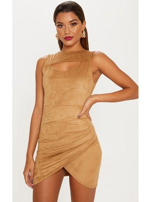 PrettyLittleThing faux suede ruched mini dress