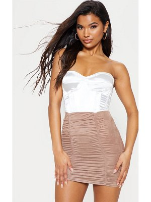 PrettyLittleThing faux suede ruched mini skirt