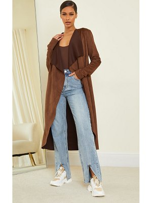 PrettyLittleThing faux suede waterfall maxi duster jacket