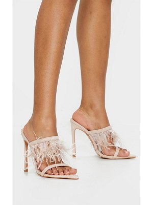 PrettyLittleThing feather strap mule heels