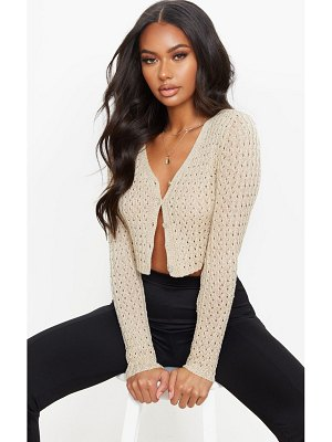 PrettyLittleThing fine gauge all over pointelle crop cardigan