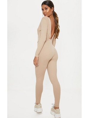 PrettyLittleThing fine rib button up long sleeve jumpsuit