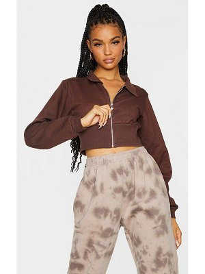 PrettyLittleThing fitted waist sweat zip up crop polo shirt