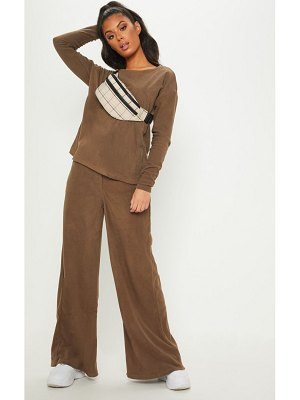 PrettyLittleThing fleece high waisted wide leg pants