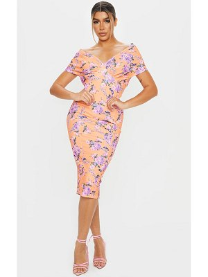 PrettyLittleThing floral bardot drape sleeve midi dress