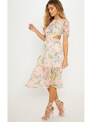 PrettyLittleThing floral cap sleeve cut out midi dress
