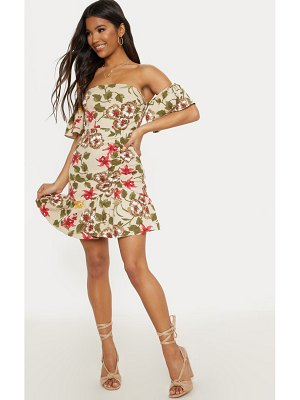 PrettyLittleThing floral frill detail bodycon dress