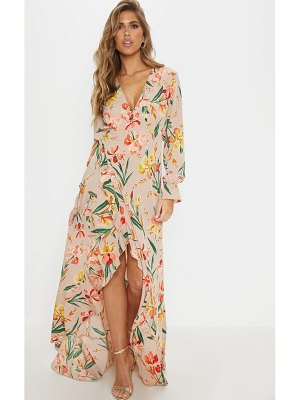 PrettyLittleThing floral frill detail open back maxi dress