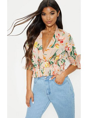PrettyLittleThing floral frill detail pleated blouse