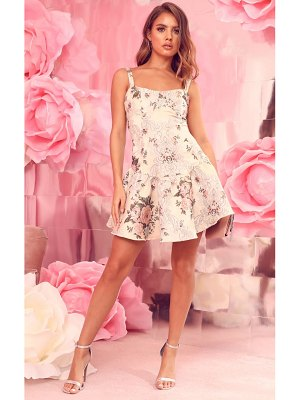 PrettyLittleThing floral jacquard frill hem bodycon dress