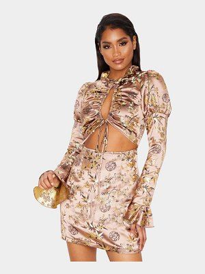 PrettyLittleThing floral jacquard ruched tie detail bodycon dress