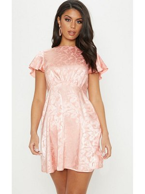 PrettyLittleThing floral jacquard ruched top skater dress