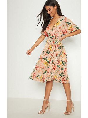 PrettyLittleThing floral pleated midi dress