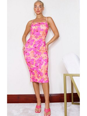PrettyLittleThing floral print crepe strappy midi dress