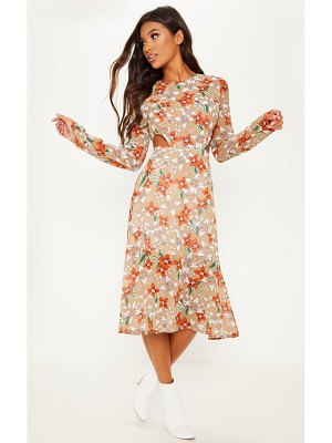 PrettyLittleThing floral print long sleeve cut out midi dress