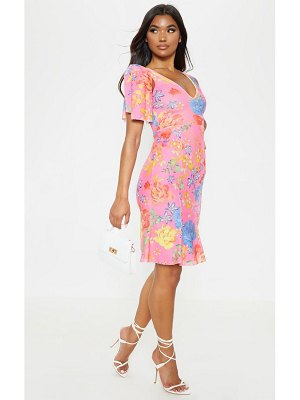 PrettyLittleThing floral print pleat detail asymmetric midi dress