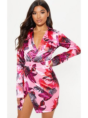 PrettyLittleThing floral print plunge satin bodycon dress