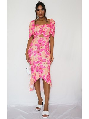 PrettyLittleThing floral print ruched bust short sleeve midi dress