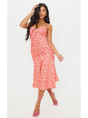 PrettyLittleThing pink floral print strappy ruched flare hem midi dress