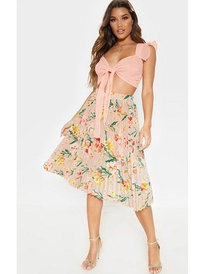 PrettyLittleThing floral printed pleated midi skirt