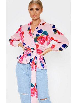 PrettyLittleThing floral printed plunge tie high neck blouse