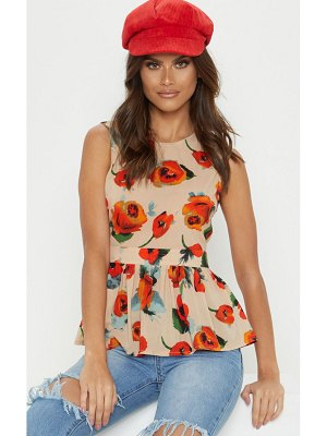 PrettyLittleThing floral sleeveless peplum top