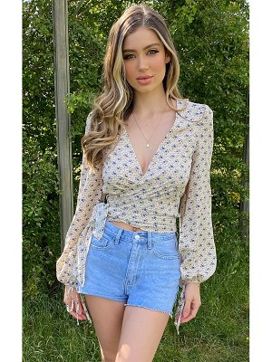 PrettyLittleThing floral tie blouse