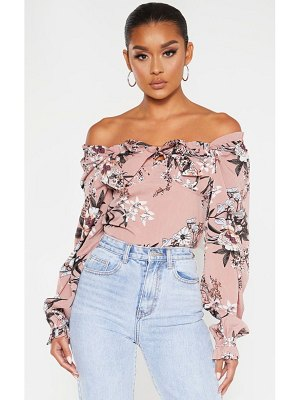 PrettyLittleThing floral woven bardot cropped blouse