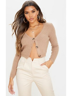 PrettyLittleThing fluffy button front cropped cardigan