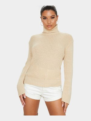 PrettyLittleThing fluffy roll neck waffle front knitted sweater