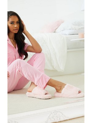 PrettyLittleThing fluffy wide strap slippers