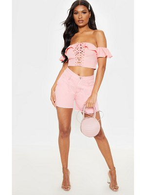 PrettyLittleThing frill lace up bardot crop top