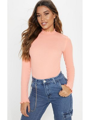 PrettyLittleThing frill rib high neck long sleeve top