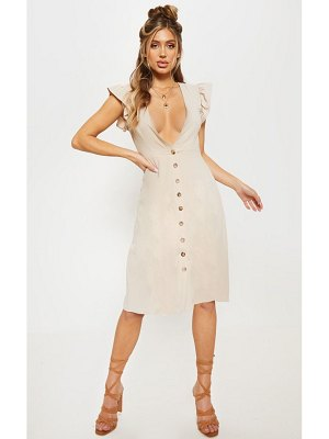 PrettyLittleThing frill shoulder button front midi dress