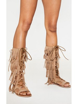 PrettyLittleThing fringe knee high gladiator sandal