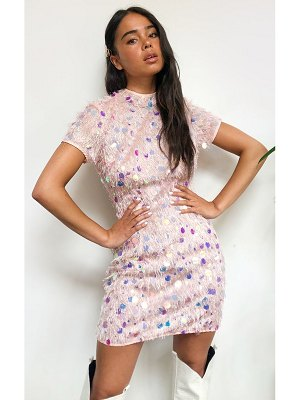 PrettyLittleThing fringed disco sequin short sleeve open back bodycon dress