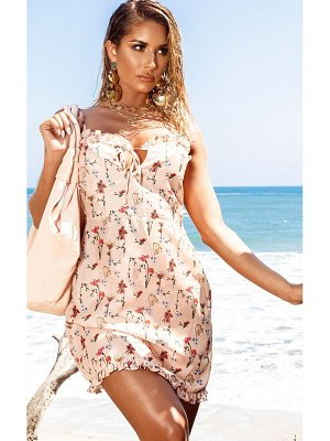 PrettyLittleThing garden print chiffon mini beach dress