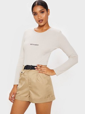 PrettyLittleThing get naked embroidered rib crew neck long sleeve bodysuit