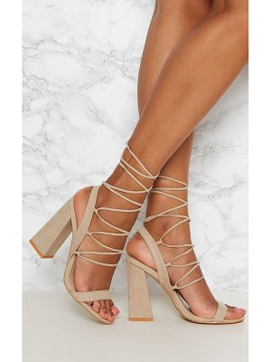 PrettyLittleThing ghillie lace up block heel