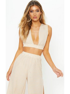 PrettyLittleThing gingham crop beach top